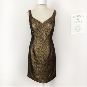 Rickie Freeman Teri Jon Gold Brocade Beaded Dress